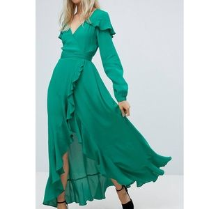 ASOS long sleeve ruffle wrap maxi tea dress